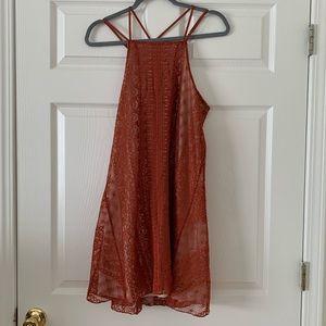 NWT Francesca's high neck lace orange dress size M